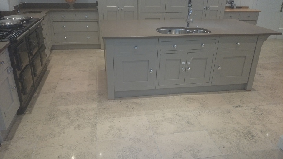Limestone Kitchen Floor Cleaned and Polished Surrey