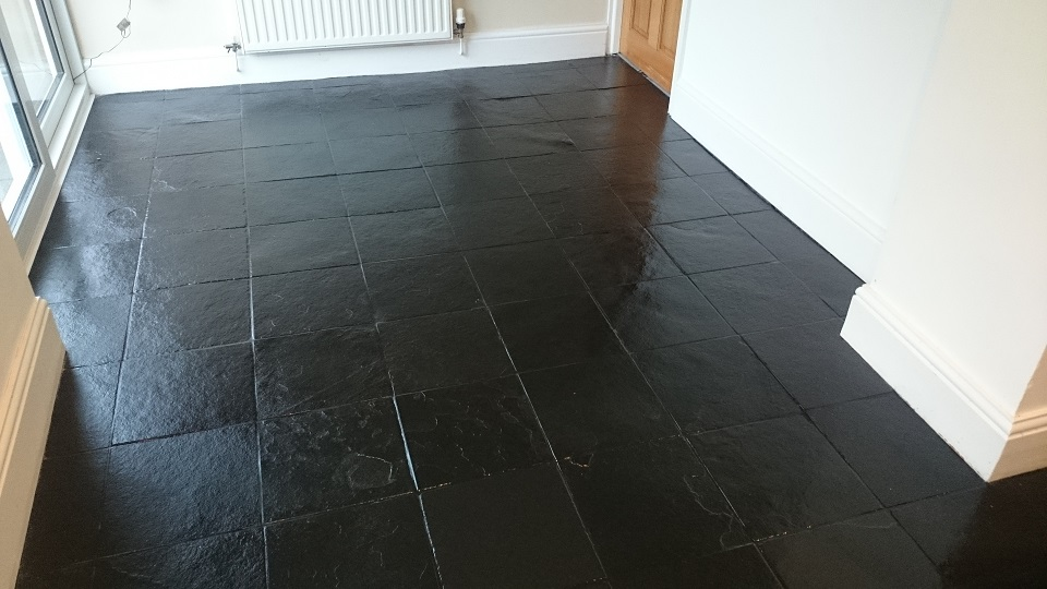 Black Slate Floor Cleaned and High Shine Sealed