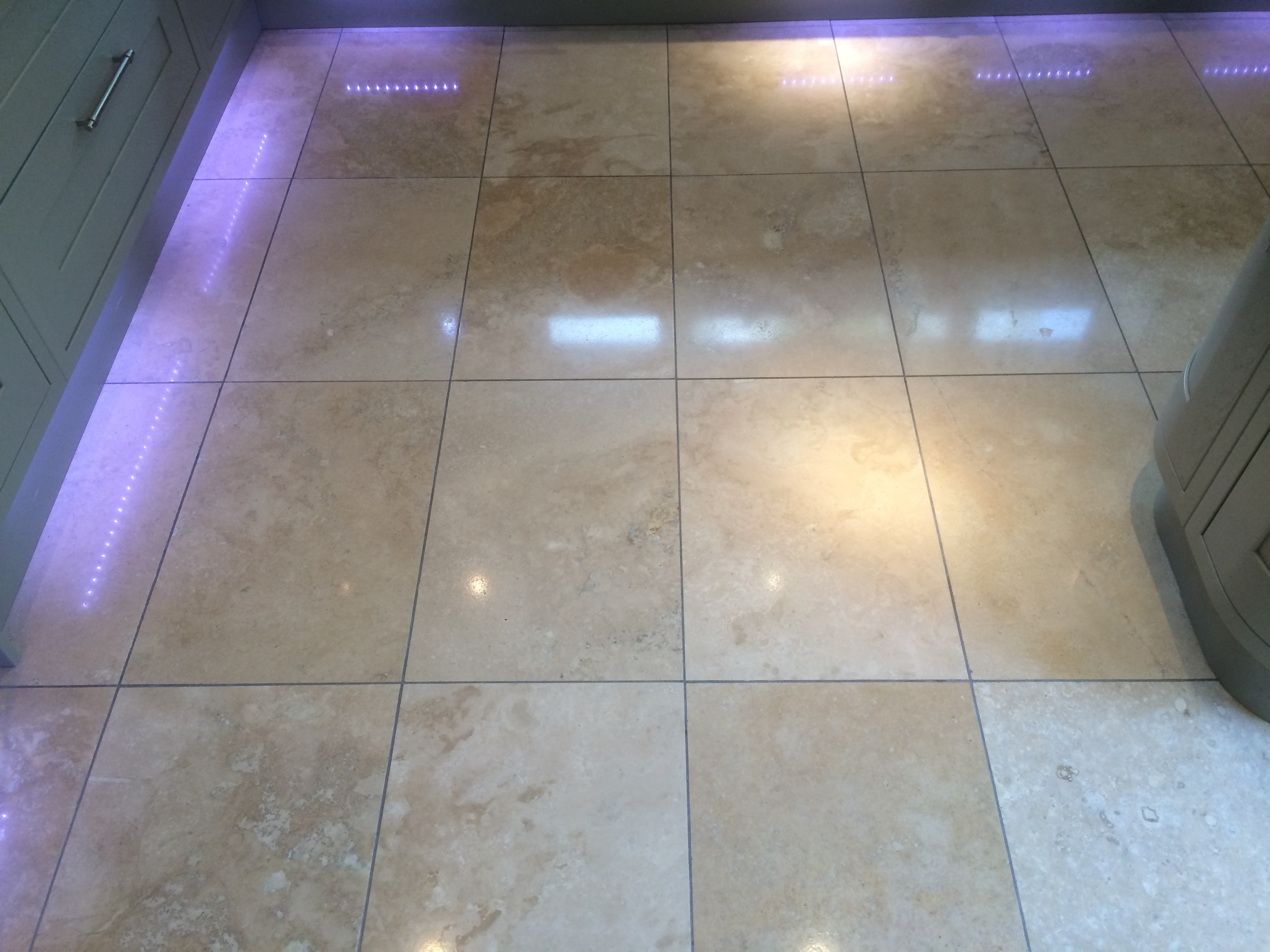 Travertine After Cleaning, Polishing and Sealing, In Keston