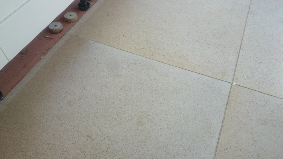Dirty Limestone Floor Before Cleaning, Polishing And Sealing