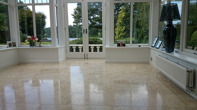 Travertine Floor After Cleaning And Polishing
